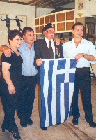 White Lady presents the Greek flag to Alf